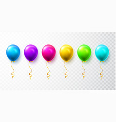 realistic blue green pink and gold balloons with vector image