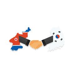 representatives of the south and north korea shake vector image