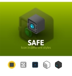 Safe icon in different style vector image