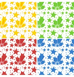 Seamless background with stars in four colors vector image