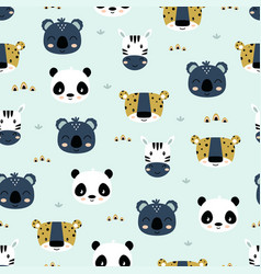 Seamless pattern with cute tropical animals vector