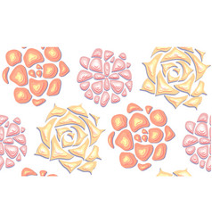 Seamless texture with gentle succulents cut out vector