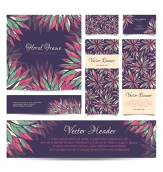 set banners business card frame vector image