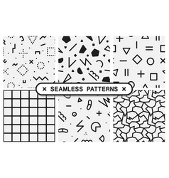 Set memphis seamless patterns black and white vector