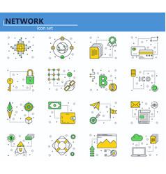 set of blockchain technology vector image