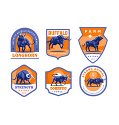 Set of bulls and buffalo in different poses vector