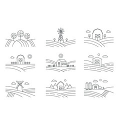 set of different line eco farm landscapes isolated vector image