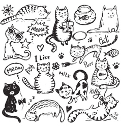 Set of hand draw funny cats in sketch style vector