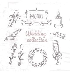 Set of hand drawn wedding table decoration vector image