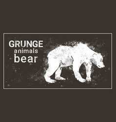 silhouette bear in grunge design style grizzly vector image