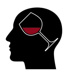 Silhouette of head with red wine glass vector image