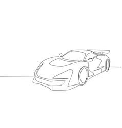 single line drawing of racing and rallying luxury vector image