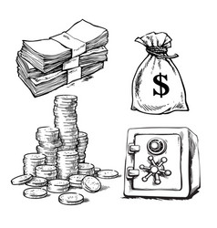 Sketch of paper money stack of coins sack of vector