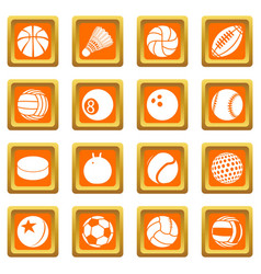 sport balls icons set orange square vector image