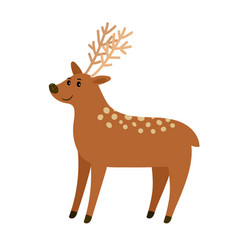 Spotted cartoon deer on white vector