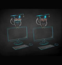 Student owl sitting on desktop screen vector