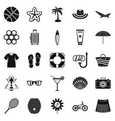 summer things icons set simple style vector image