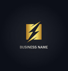 thunder bolt energy gold logo vector image