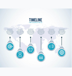 timeline infographic world business target diagram vector image