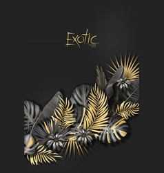 tropical banner with gold and black exotic vector image