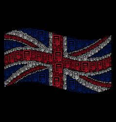 Waving great britain flag mosaic of certificate vector