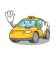 Waving taxi character cartoon style vector