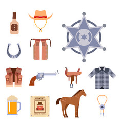 Wild west elements set icons cowboy rodeo vector