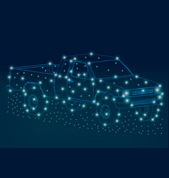 Wireframe of the truck of the blue lines on a dark vector