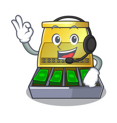 With headphone cartoon cash register with a money vector