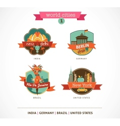 World Cities labels - Delhi Berlin Rio New York vector image