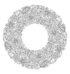 Bridal wreath of fantasy flowers and leaves vector image vector image