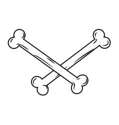 crossbones isolated bones on white background vector image vector image