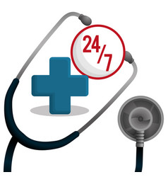 stethoscope medical equipment service 24-7 vector image