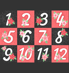 advent calendar numbers vector image