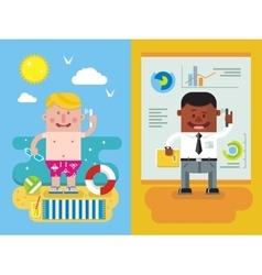 Colleagues calling from vacation to work vector image vector image