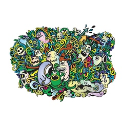 Crazy doodle monstersdoodle drawing style vector