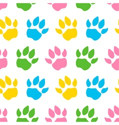 Cute colorful animal paws seamless pattern vector image