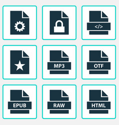 document icons set collection of shape open type vector image