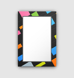 frame pattern with abstract color squares on black vector image