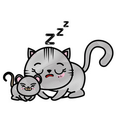 isolated cat and mouse vector image vector image