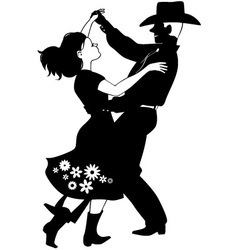Polka dancers silhouette vector image vector image