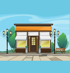 shop boutique store with windows greenery vector image vector image