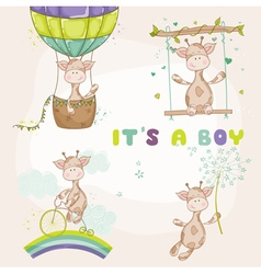 Baby Giraffe Set - Baby Shower or Arrival Card vector image
