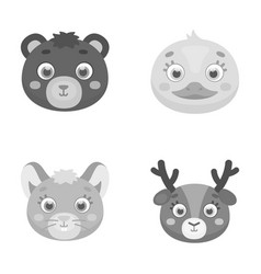 bear duck mouse deer animal s muzzle set vector image