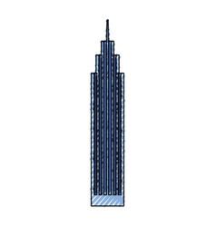 Blue skyscraper cartoon vector