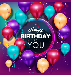 colorful balloons happy birthday vector image