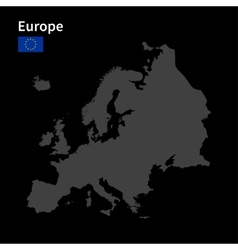 Detailed map of Europe with flag on black vector image