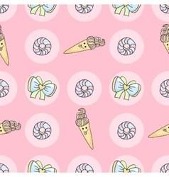 Funny candy cartoon doodle pattern with ice cream vector image