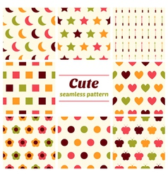 Set of cute seamless patterns vector image vector image
