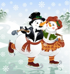 snowman with his wife vector image vector image